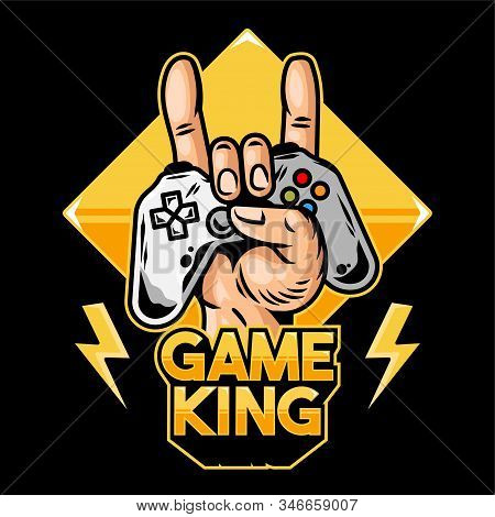 Hand Of Game King Which Keep Modern Gamepad Joystick Game Controller For Play Video Game And Show Ro