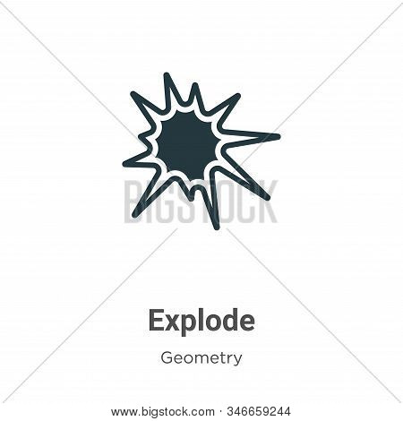 Explode Glyph Icon Vector On White Background. Flat Vector Explode Icon Symbol Sign From Modern Geom