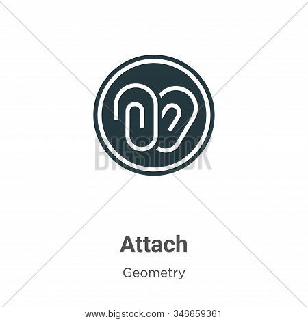 Attach Glyph Icon Vector On White Background. Flat Vector Attach Icon Symbol Sign From Modern Geomet