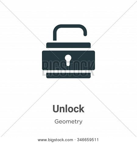 Unlock Glyph Icon Vector On White Background. Flat Vector Unlock Icon Symbol Sign From Modern Geomet