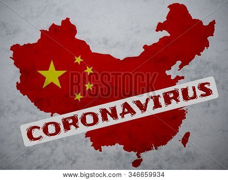 Peoples Republic Of China Map Country Silhouette With A Stamp: Coronavirus On It. 2019 Novel Coronav