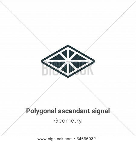 Polygonal ascendant signal icon isolated on white background from geometry collection. Polygonal asc