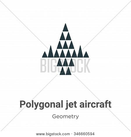 Polygonal jet aircraft icon isolated on white background from geometry collection. Polygonal jet air