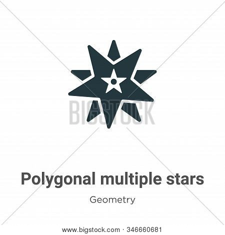 Polygonal multiple stars icon isolated on white background from geometry collection. Polygonal multi