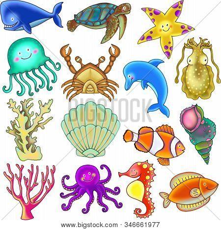 Digitally Created Colorful Cartoon Underwater Sealife Set.