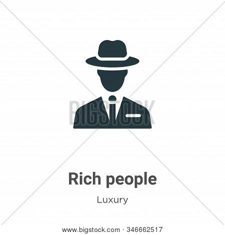 Rich People Glyph Icon Vector On White Background. Flat Vector Rich People Icon Symbol Sign From Mod