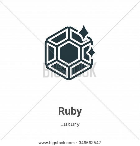 Ruby icon isolated on white background from luxury collection. Ruby icon trendy and modern Ruby symb