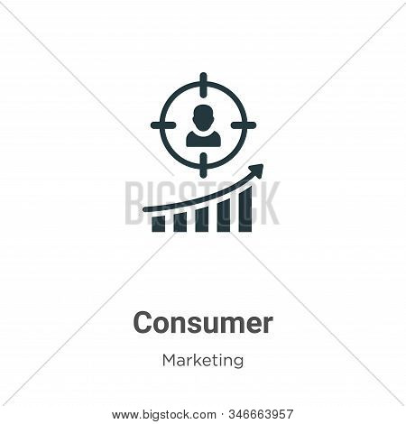 Consumer Glyph Icon Vector On White Background. Flat Vector Consumer Icon Symbol Sign From Modern Ma