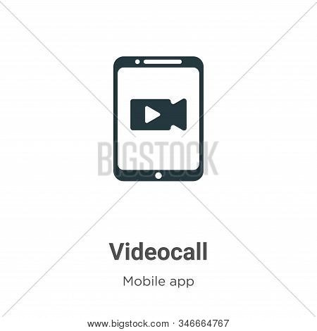 Videocall Glyph Icon Vector On White Background. Flat Vector Videocall Icon Symbol Sign From Modern