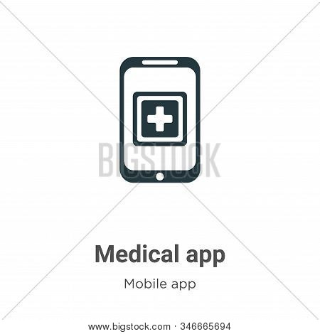 Medical App Glyph Icon Vector On White Background. Flat Vector Medical App Icon Symbol Sign From Mod