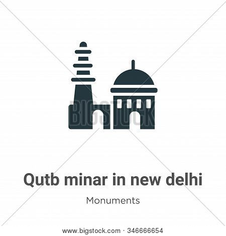 Qutb minar in new delhi icon isolated on white background from monuments collection. Qutb minar in n