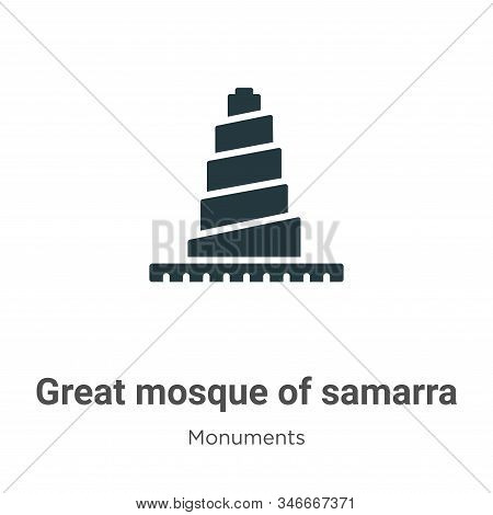 Great mosque of samarra icon isolated on white background from monuments collection. Great mosque of