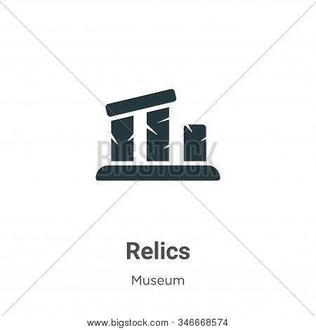 Relics Glyph Icon Vector On White Background. Flat Vector Relics Icon Symbol Sign From Modern Museum