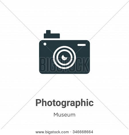 Photographic Glyph Icon Vector On White Background. Flat Vector Photographic Icon Symbol Sign From M