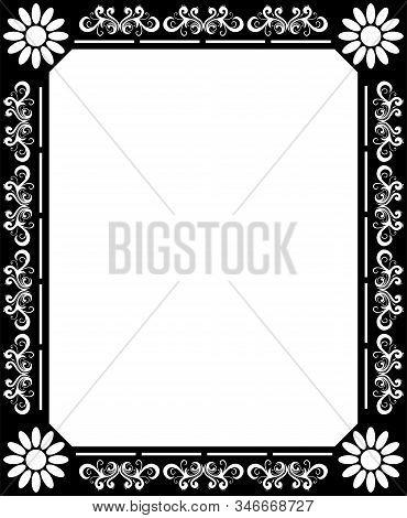 Flower And Leafs Frame Decoration Vector Illustration Design