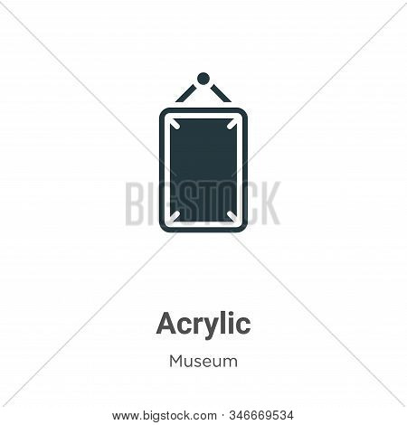 Acrylic Glyph Icon Vector On White Background. Flat Vector Acrylic Icon Symbol Sign From Modern Muse