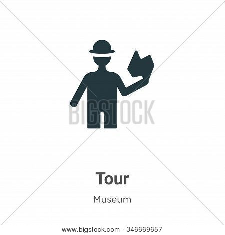 Tour Glyph Icon Vector On White Background. Flat Vector Tour Icon Symbol Sign From Modern Museum Col