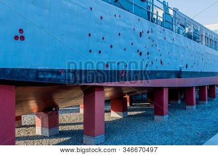 Seoul, South Korea; January 10, 2020: Closeup Of Side Of Patrol Boat Riddled With Bullet Holes On St