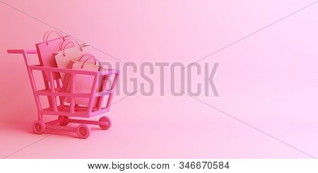 Happy Valentines Day, Valentines Day Background, Shopping Trolley Cart And Shopping Bag On Pink Back