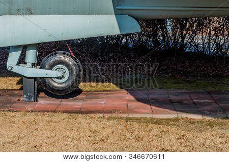Seoul, South Korea; January 10, 2020: Tail Wheel Landing, Of C-46 Commando Transport Aircraft On Sta
