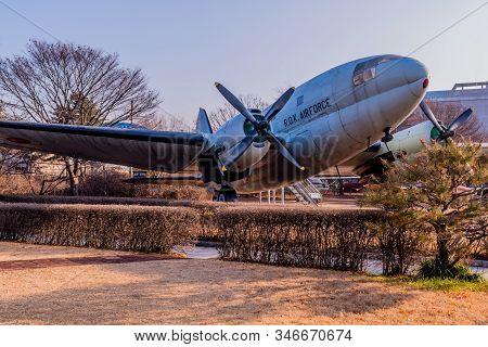 Seoul, South Korea; January 10, 2020: C-46 Commando Transport Aircraft On Static Display At Korean W