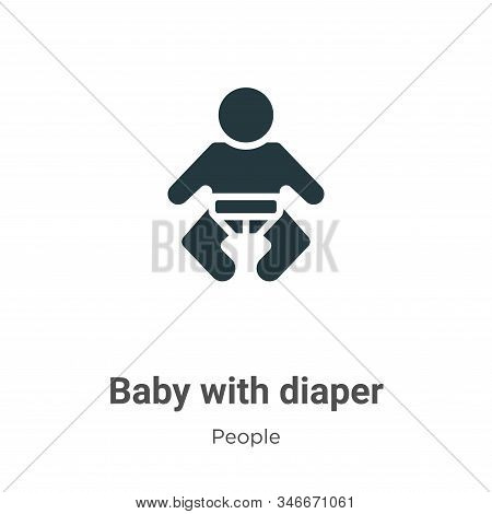 Baby With Diaper Glyph Icon Vector On White Background. Flat Vector Baby With Diaper Icon Symbol Sig