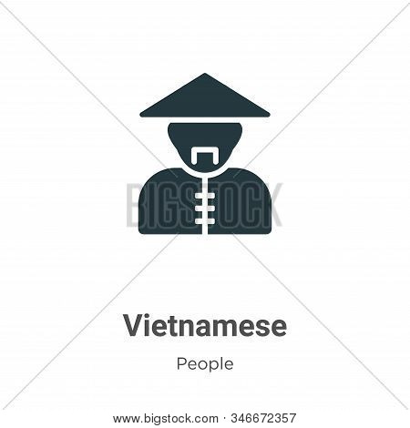Vietnamese Glyph Icon Vector On White Background. Flat Vector Vietnamese Icon Symbol Sign From Moder