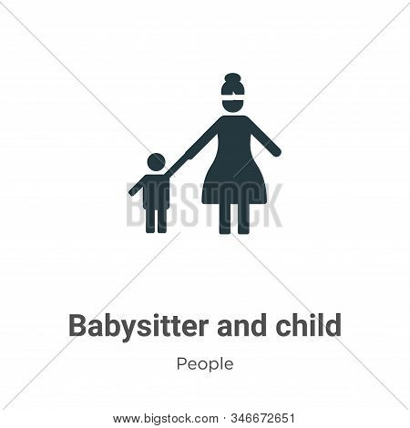 Babysitter And Child Glyph Icon Vector On White Background. Flat Vector Babysitter And Child Icon Sy