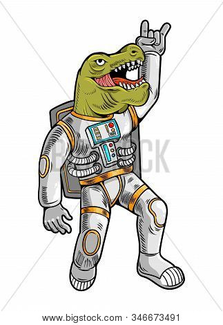 Engraving Draw With Funny Cool Dude Astronaut T Rex Tyrannosaurus In Space Suit. Vintage Cartoon Cha