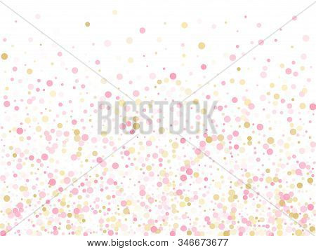 Rose Gold Confetti Circle Decoration For New Year Card Background. Birthday Vector Illustration. Gol
