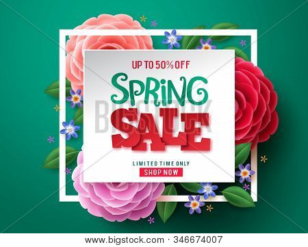 Spring Sale Flowers Vector Design. Spring Sale Discount Text And Colorful Camellia Flowers In White