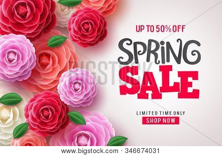 Spring Sale Vector Flowers Background. Spring Sale Discount Text And Colorful Camellia Flowers In Wh