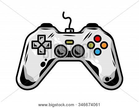 Icon Of Gamepad For Play Arcade Video Game For Gamer Custom Design Vector Cartoon Illustration With