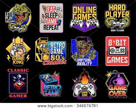 Game Design Logo Set Collection Of Video Game Geek Culture Gamer Elements Bundle. Vector Illustratio