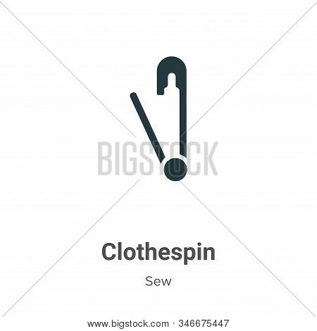 Clothespin Glyph Icon Vector On White Background. Flat Vector Clothespin Icon Symbol Sign From Moder