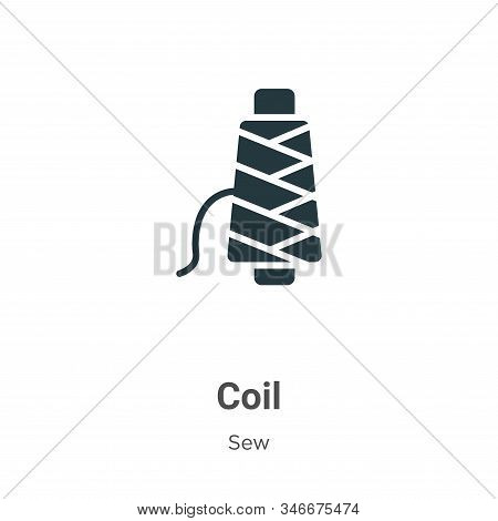 Coil Glyph Icon Vector On White Background. Flat Vector Coil Icon Symbol Sign From Modern Sew Collec