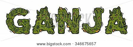Decorative Green Marijuana Font With Isolated Lettering Design Weed Inscription