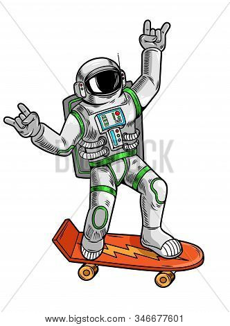 Engraving Draw With Funny Cool Dude Astronaut Spaceman Ride On Skateboard In Space Suit. Vintage Car