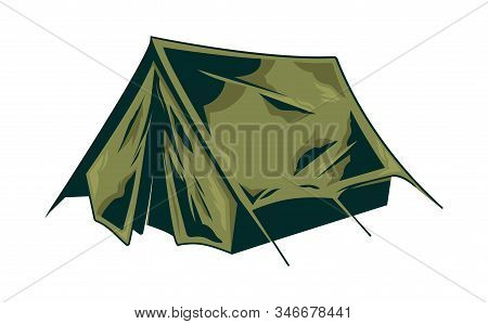 Classic Vintage Camping Tent For Trip Journey Travel Adventure, On Isolated White Background. Retro