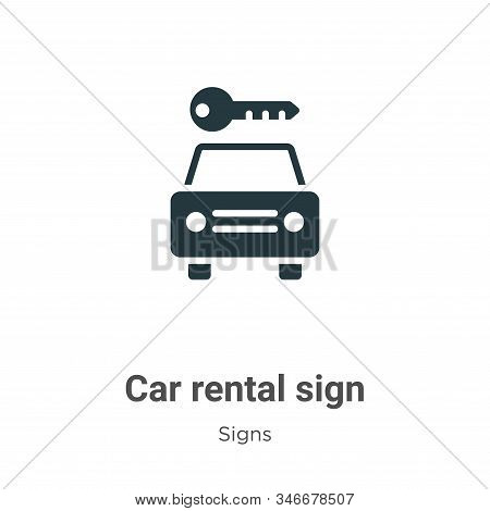 Car rental sign icon isolated on white background from signs collection. Car rental sign icon trendy