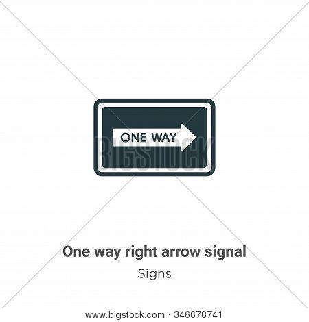 One way right arrow signal icon isolated on white background from signs collection. One way right ar