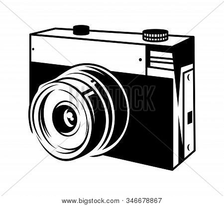 Classic Old Film Camera For Take A Photo 35mm. Retro Hipster Photo Camera Isolated On White Backgrou