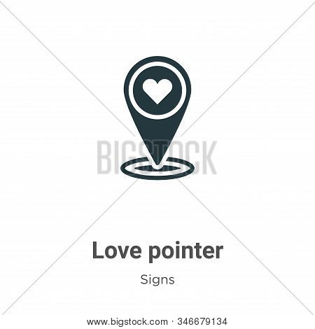 Love pointer icon isolated on white background from signs collection. Love pointer icon trendy and m