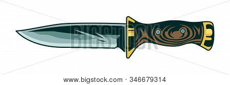 Classic Vintage Metal Knife With Wooden Handle For Cooking Food And Hunting On Trip Journey Travel A