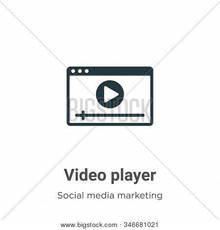 Video Player Glyph Icon Vector On White Background. Flat Vector Video Player Icon Symbol Sign From M