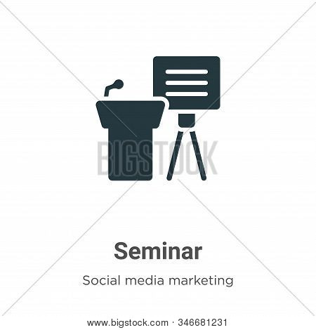 Seminar icon isolated on white background from social media marketing collection. Seminar icon trend