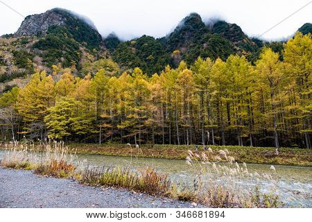 Mountain Range With Isolated Sky River Side View In Kamikochi National Park Focus On Colorful Pine G
