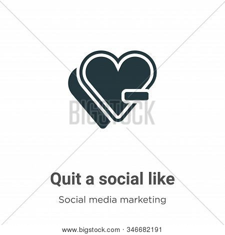 Quit A Social Like Glyph Icon Vector On White Background. Flat Vector Quit A Social Like Icon Symbol
