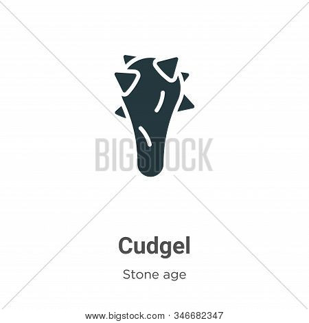 Cudgel Glyph Icon Vector On White Background. Flat Vector Cudgel Icon Symbol Sign From Modern Stone