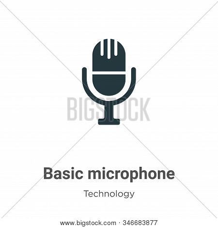 Basic Microphone Glyph Icon Vector On White Background. Flat Vector Basic Microphone Icon Symbol Sig
